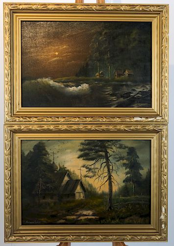M. BEKUU: Two Landscapes- Oil on Canvas