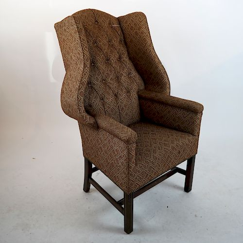 20th C Tufted-Back Wing Chair