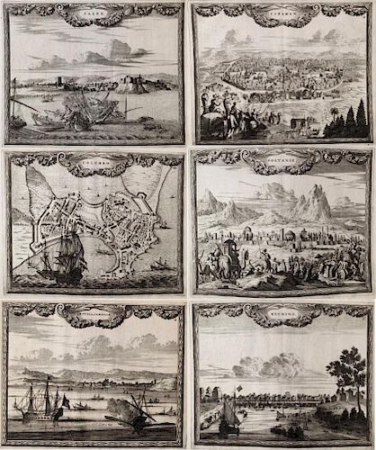 Six Topographical Engravings by Carel Allard