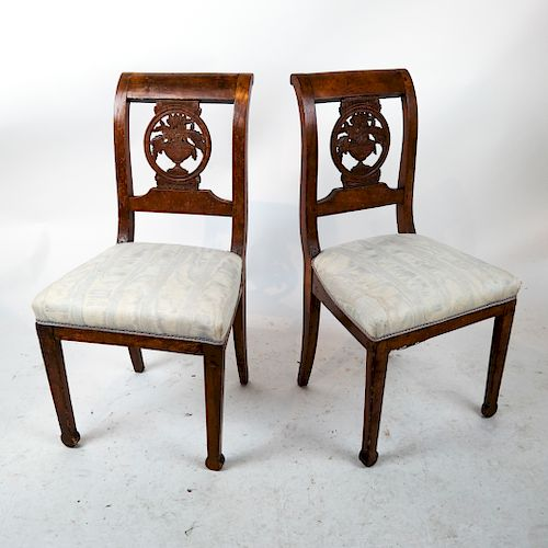 Two Antique Continental Fruitwood Side Chairs