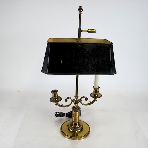 French Two-Light Bronze Bouillotte Lamp