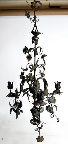 Tole Floral and Leaf Design Chandelier