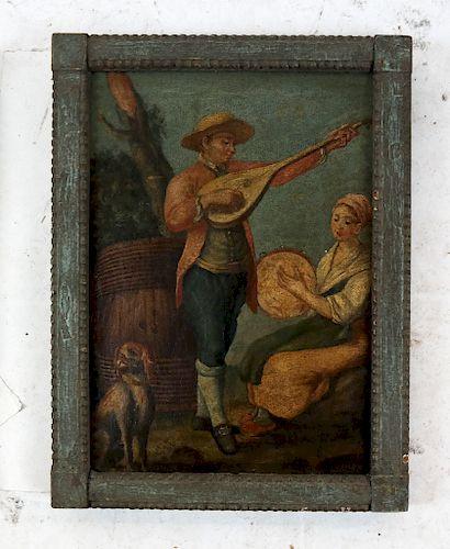 Pair Antique Figural Scenes- Oil on Canvas