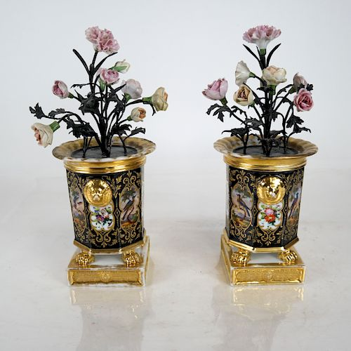 Pair of French Painted Porcelain and Tole Cachepot