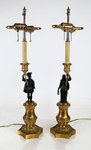 Pair Louis-Philippe Ormolu and Bronze Candelabra