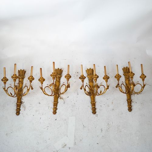 19th C. Neoclassical-Style Gilt Wood Sconces