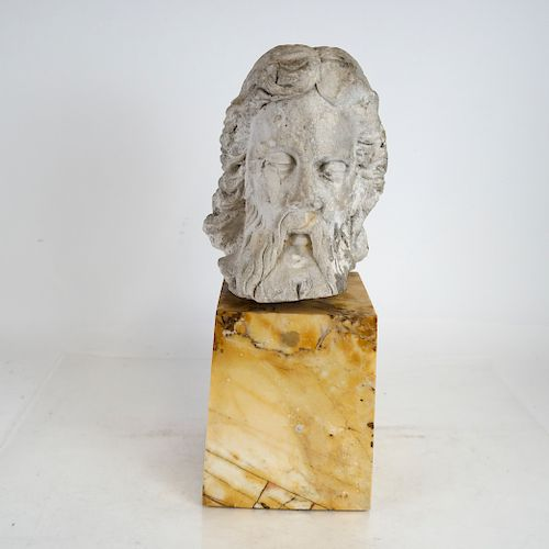 Antique Stone Head of Christ