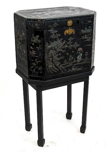 Antique Japanese Export-Style Box on Stand