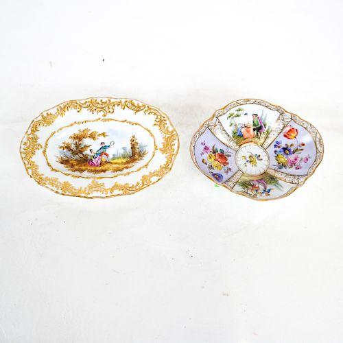 Two Meissen & Dresden Porcelain Dishes
