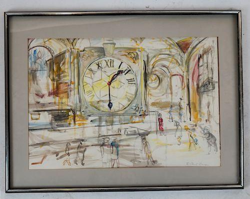 E. Powis JONES: Grand Central - Watercolor