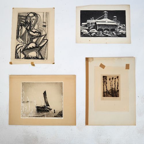 E.J. SACHS, Others: Group of Antique Prints