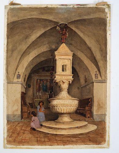 "M.E. WRATISLAW: ""Church in Siena""- W/C"