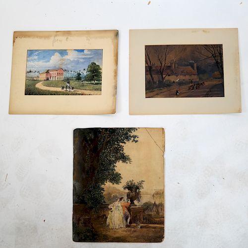 Three 19th C. Watercolors/Gouaches