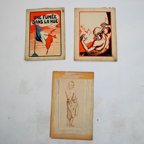 Three Unframed Art Works (French, Other)