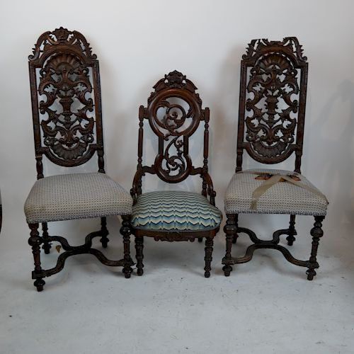Pair Shell Carved Chairs, Another