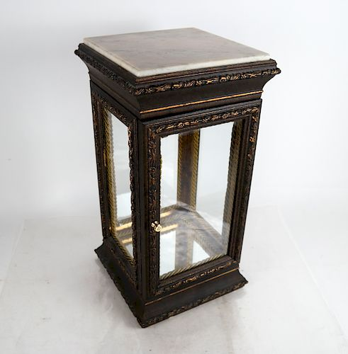 Carved Display Case With Marble Top