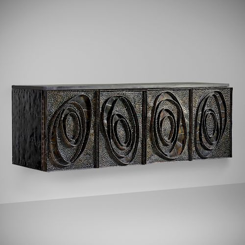 Paul Evans, Rare Sculpture Front wall-mounted cabinet