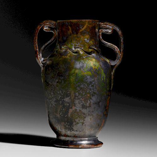 George E. Ohr, Large two-handled vase