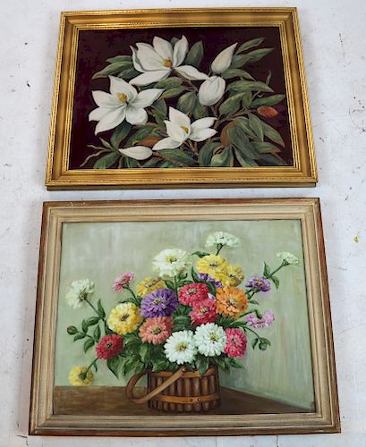 K.J.F.:  Two Floral Still Lifes - Oil on Canvas