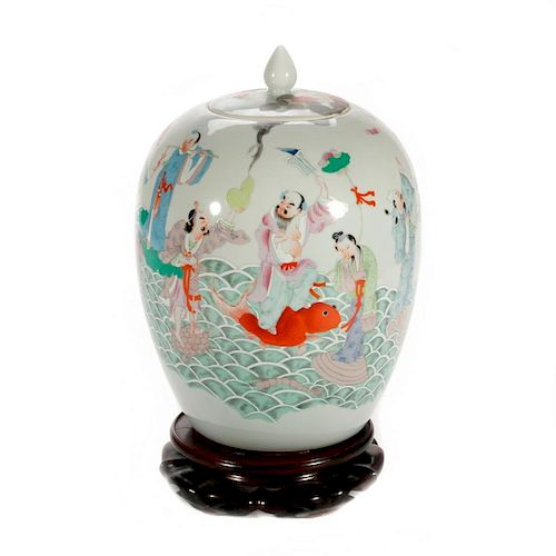 Large Chinese lidded jar on stand.