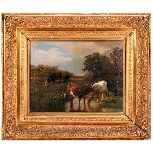 A 19th century pastoral oil on canvas signed by Louis Coignard (1812-1883) lower left and dated '51.