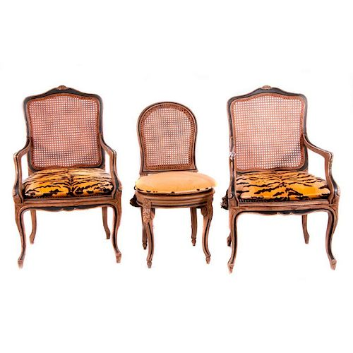 Seven dining chairs.