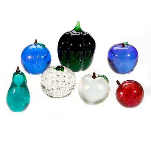 Seven Art Glass paperweights.