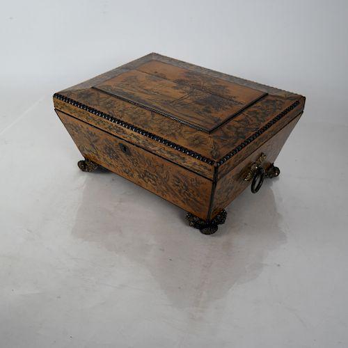 19th C. Regency Satinwood Tea Caddy