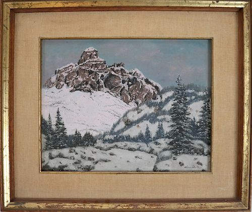 Winter Scene - Oil on Canvas, Illegibly Signed