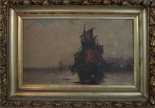 Tall Ships - Oil on Canvas, Signature Not Found