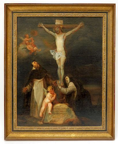 Follower of Anthony van Dyck Crucifixion Painting