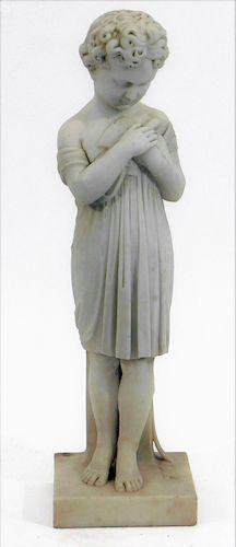 19C. Italian Neoclassical Girl Bird Marble Statue
