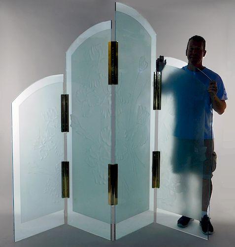 Nolan Everitt Floral Cameo Glass Room Divider