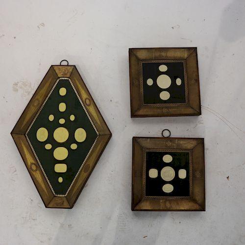 Three Plaster Intaglio Shadow Boxes
