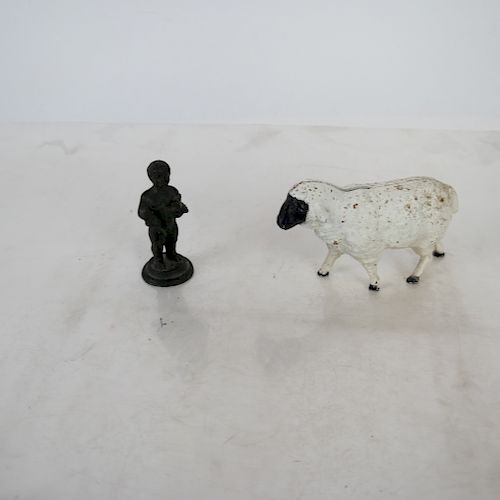 Bronze Miniature Sculpture & a Lamb Bank