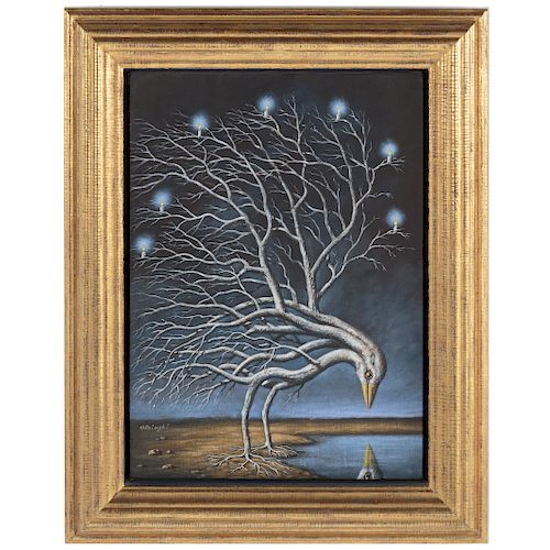 "Rafal Olbinski. ""Bird Tree"""