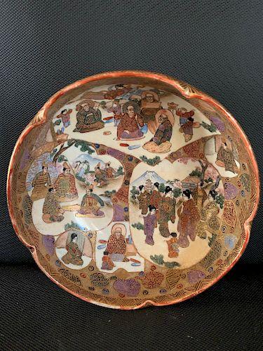 Satsuma 5 Lobed Bowl, Meiji Period