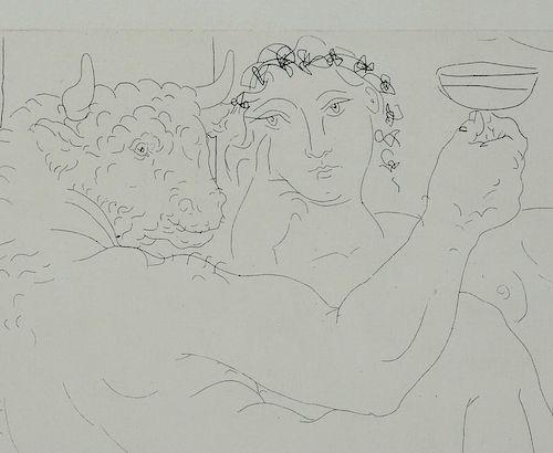 Pablo Picasso Signed Etching Minotaure une Coupe a la Main et Jeune Femme 1939