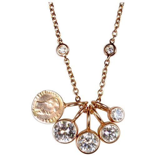 18 Karat Gold, 2.57 Carat Diamond and 1865 Maximilliano Imperio Gold Coin Pendant Necklace