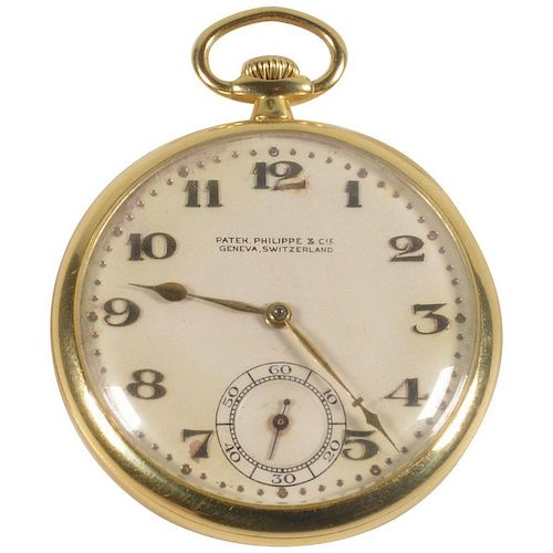 Patek Philippe 18 Karat Yellow Gold Open Face Pocket Watch, circa 1920