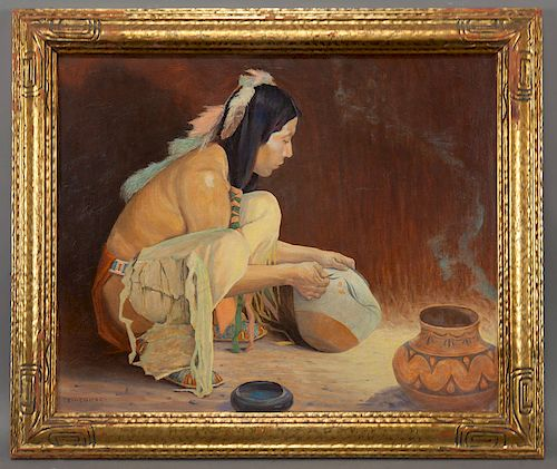 """Eanger Irving Couse """"Untitled (The Pottery"""