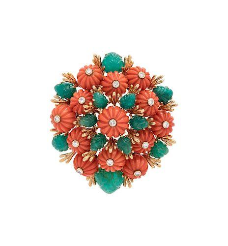 David Webb, Coral, Emerald and Diamond Pendant/Brooch