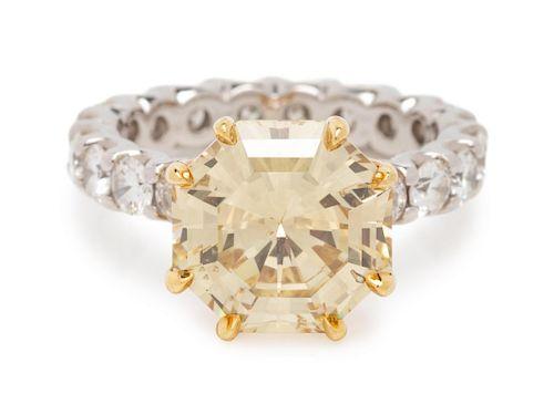 Fancy Brownish Yellow Diamond and Diamond Ring
