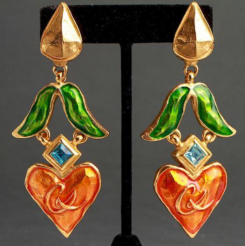 Christian Lacroix Enamel & Faux Gemstone Earrings