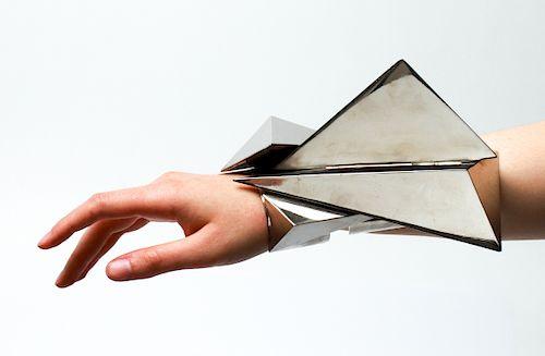 Thierry Mugler Chrome Metal Geometric Arm Cuff