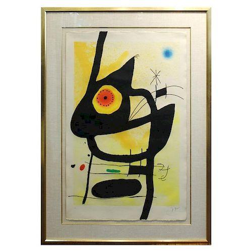 Joan Miro La Femme Des Sables Signed Etching