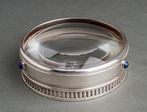Cartier Silver-Tone & Lapis Magnifying Lens