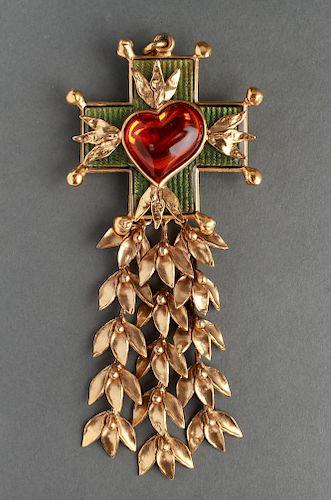 Yves Saint Laurent Oversize Cross Pendant Brooch