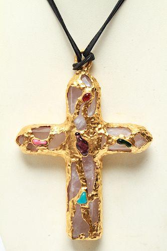 Chanel Runway Rose Quartz & Gripoix Cross Necklace