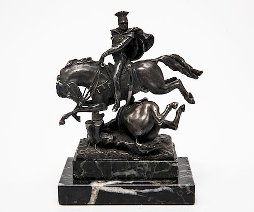 Soldier on Horseback Patinated Metal Sculpture